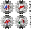 USA Canada UK Italy Gears Metal Flags / Four metal gears with the flags of: USA, UK, Canada and Italy - stock photo