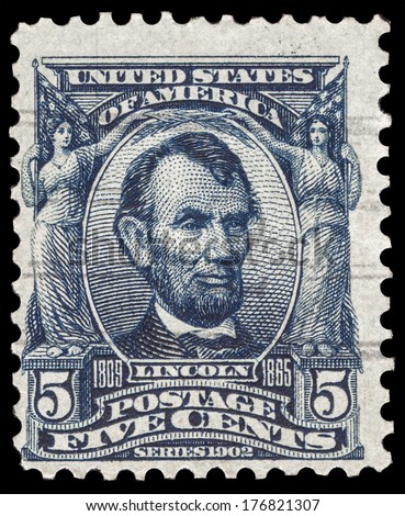 USA-CIRCA 1903: A postage stamp shows image portrait of Abraham Lincoln the 16th President of the United States of America, circa 1903.
