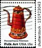 USA - CIRCA 1979: A stamp printed in the United States of America shows Pennsylvania Toleware, Folk Art series, circa 1979 - stock photo
