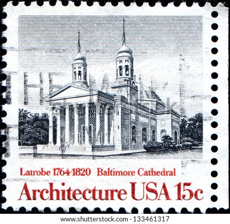 USA - CIRCA 1979: A stamp printed in United States of America shows Baltimore Cathedral by Latrobe, 1794 - 1820, circa 1979