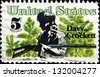 USA - CIRCA 1967: A stamp printed in  United States of America shows Davy Crockett frontiersman and congressman who died in defense of the Alamo, circa 1967 - stock photo