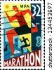 USA - CIRCA 1996: A  stamp printed in United States of America shows dedicated to marathon, circa 1996 - stock photo