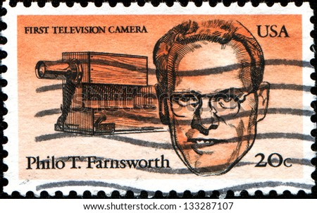 USA - CIRCA 1983: A stamp printed in United States of America shows first television camera and portrait of Philo T. Farnsworth (1906-1971) was an inventor and television pioneer, series, circa 1983