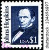 USA - CIRCA 1989: A  stamp printed in United States of America shows Johns Hopkins was a wealthy American entrepreneur, philanthropist and abolitionist of 19th-century Baltimore, Maryland, circa 1989 - stock photo