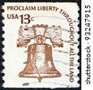 "USA - CIRCA 1975: A stamp printed in USA from the ""Americana"" issue shows the Liberty Bell and the inscription ""Proclaim Liberty Throughout All the Land"", circa 1975. - stock photo"