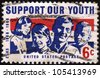 USA - CIRCA 1968: A stamp printed in USA shows a picture of young men and women, inscription Support Our Youth, dedicated to the 100th anniversary of the Youth program, circa 1968 - stock photo
