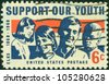 USA - CIRCA 1969: A stamp printed in USA shows a picture of young men and women with the words of Support Our Youth, circa 1969 - stock photo