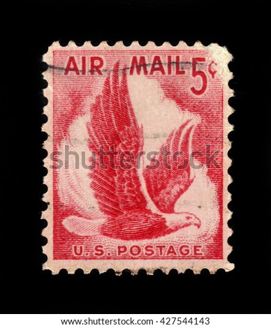 USA - CIRCA 1958: A stamp printed in USA shows eagle In flight, circa 1958