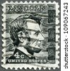 USA - CIRCA 1965: A stamp printed in USA shows President Abraham Lincoln (1809-1865), series Prominent Americans Issue, circa 1965 - stock photo