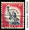 USA - CIRCA 1961: A stamp printed in USA shows Statue of Liberty, circa 1961 - stock photo