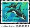USA - CIRCA 1990: A Stamp printed in USA shows the Killer Whales, Sea Creatures series, circa 1990 - stock photo