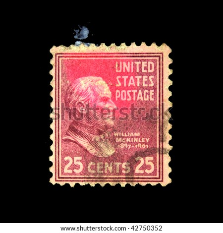 USA - CIRCA 1920s: A stamp printed in USA shows President William McKinley, circa 1920s