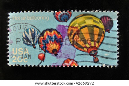 USA - CIRCA 1970s: A stamp shows hot air balloons, circa 1970s