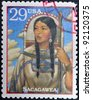 USA - CIRCA 1994 : Stamp printed in USA show Sacagawea, Shoshone woman who accompanied Lewis and William Clark in their exploration of Western USA, circa 1994 - stock photo