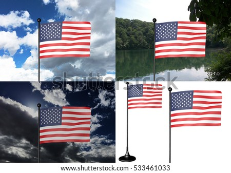USA Flag collage with sky, lake and isolated