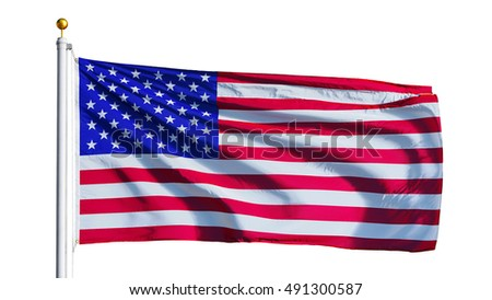 USA flag waving on white background, close up, isolated with clipping path mask alpha channel transparency