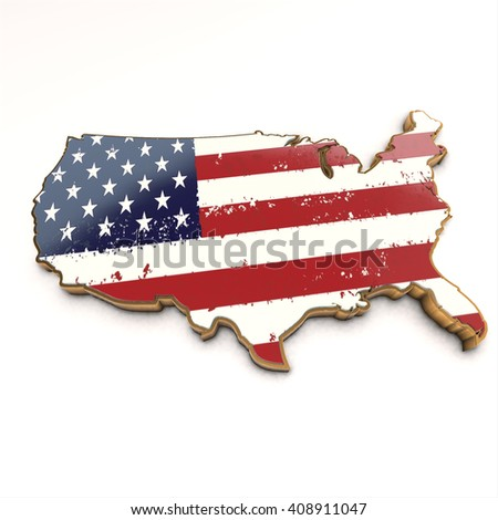 Usa golden background. Shape 3d render map with flag