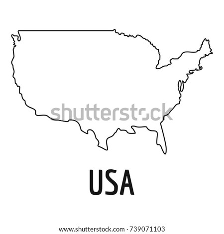 Usa Map Thin Line Simple Ilration Of Usa Map Isolated On White Background