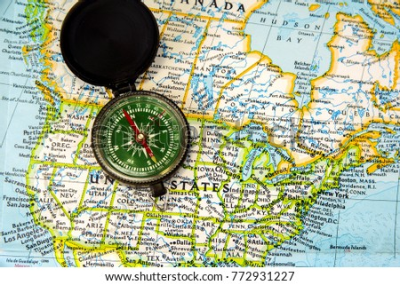 Map Compass On Trip Reliable Navigation Stock Photo - Us map with compass