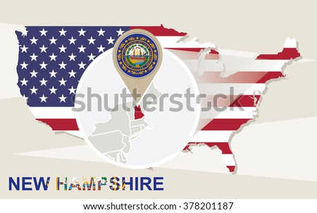 Usa Map Magnified New Hampshire State Stock Vector - New hampsire on us map
