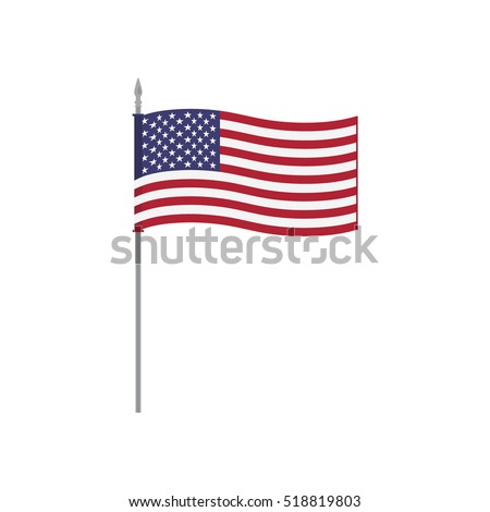 USA raster table flag template. Waving United States of America flag on a metallic pole, isolated on a white background. Flag stand, flagstaff