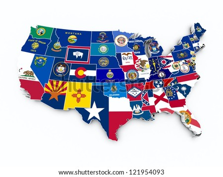 Us Map Flags States On White Stock Vector Shutterstock - Us map with state flags