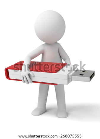USB flash drive/3d people with a USB flash drive. 3d image. Isolated white background.
