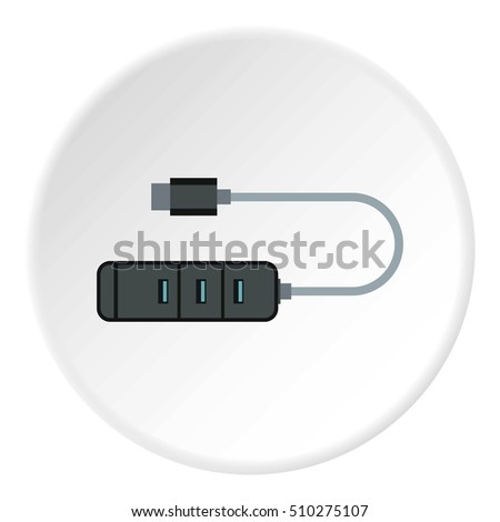 Usb hub icon. Flat illustration of usb hub  icon for web