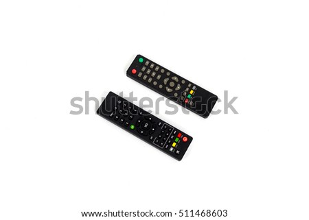 Used remote control isolated on white background.