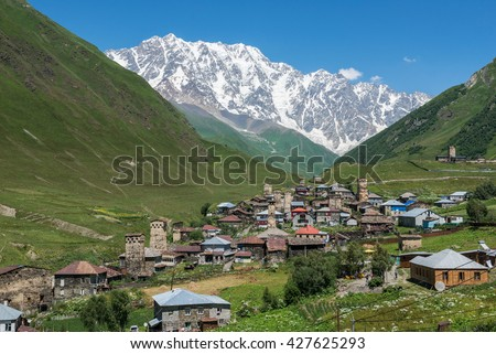 Ushguli, Georgia - July 24, 2015: villages community called Ushguli in Upper Svanetia region. Shkhara mountain on background