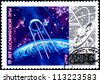USSR - CIRCA 1972: A Postage Stamp Printed in the USSR Shows 15 Years of Space Age, circa 1972 - stock photo