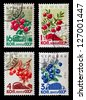 USSR - CIRCA 1964: A set of postage stamps printed in USSR shows berries, series, circa 1964 - stock photo