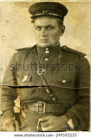 USSR - CIRCA 1945: Photo taken in the USSR, depicted soldier of the Red Army, circa 1945.