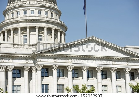 Utah Capitol Building in Salt Lake City, UT, USA. Building Closeup. Architecture Photo Collection.