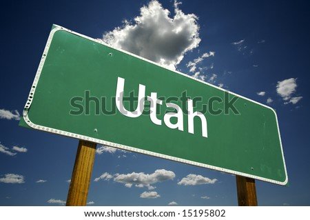 Utah Road Sign with dramatic clouds and sky.