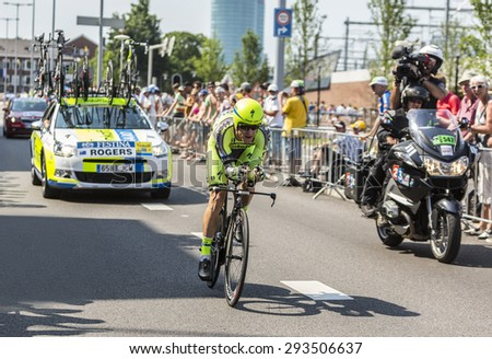 UTRECHT,NETHERLANDS: JUL 4: Michael Rogers of Tinkoff-Saxo Team riding during the first stage (individual time trial ) of Le Tour de France 2015 in Utrecht,Netherlands on 04 July 2015.