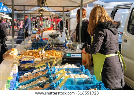 Utrecht, the Netherlands - February 13, 2016: Sale of vegetables in the street market