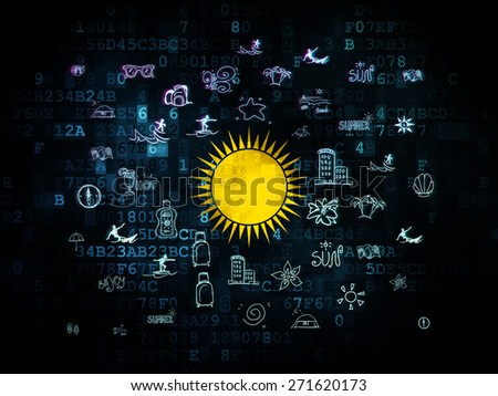 Vacation concept: Pixelated yellow Sun icon on Digital background with  Hand Drawn Vacation Icons, 3d render