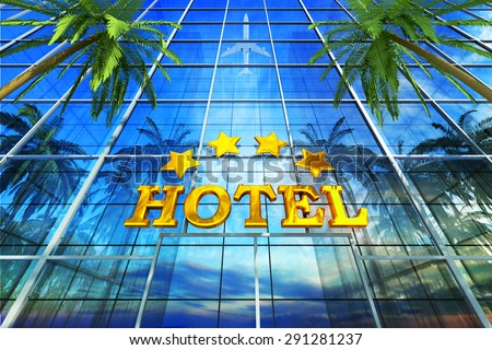 Vacation, travel, tropical resort and tourism concept, skyscraper building as a comfortable four star deluxe hotel