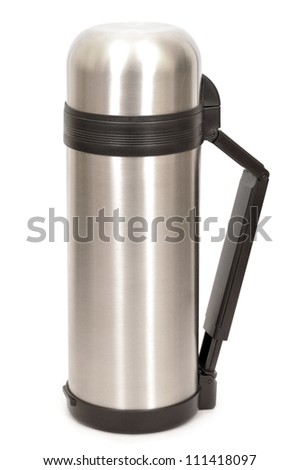 Vacuum flask with cover on white background