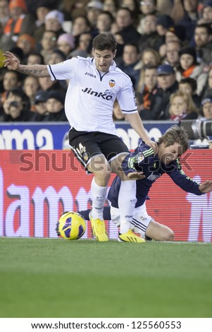VALENCIA - JANUARY 20: Barragan left and Coentrao during Spanish Soccer League match between Valencia CF and Real Madrid, on January 20, 2013, in Mestalla Stadium, Valencia, Spain