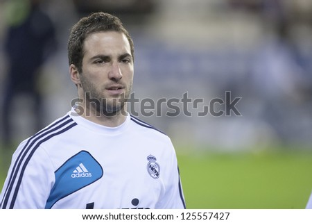 VALENCIA - JANUARY 20: Gonzalo Higuain during Spanish Soccer League match between Valencia CF and Real Madrid, on January 20, 2013, in Mestalla Stadium, Valencia, Spain