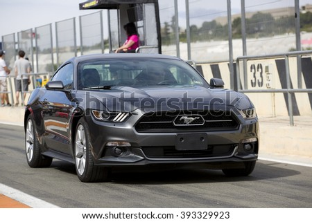 VALENCIA, SPAIN - APRIL 25: A grey 2015 Ford Mustang take part in American Fest weekend organized in circuit Ricardo Tormo, on April 25, 2015, in Cheste, Valencia, Spain.