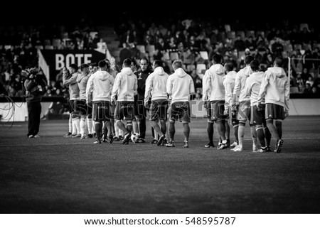 VALENCIA, SPAIN - JANUARY 3: All players during King Cup soccer match between Valencia CF and Celta de Vigo at Mestalla Stadium on January 3, 2017 in Valencia, Spain