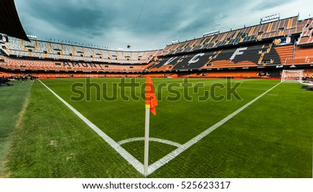 VALENCIA, SPAIN - NOVEMBER 20th: La Liga soccer match between Valencia CF and Granada CF at Mestalla Stadium on November 20, 2016 in Valencia, Spain