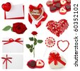 Valentine collection isolated on white background - stock photo