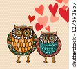 Valentine day lovely owls greeting card. - stock vector