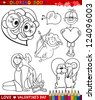 Valentine's Day and Love Themes Collection Set of Black and White Cartoon Illustrations for Coloring Book - stock vector