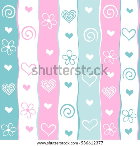 Valentine's day background. Seamless stripped pattern.  illustrations.