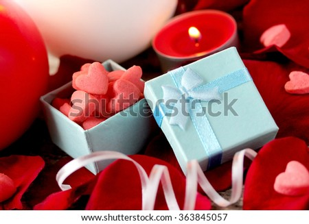 Valentine's Day, Gift box, rose petals and candles